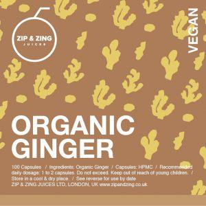 Organic Ginger 100 vegan capsules