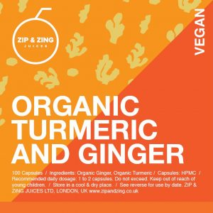 Organic Turmeric and Ginger 100 vegan capsules